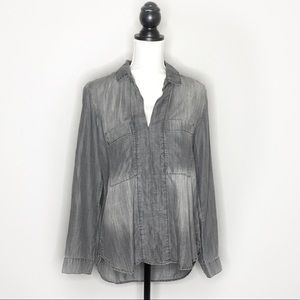 {Anthro} Cloth & Stone Long Sleeve High Low Blouse